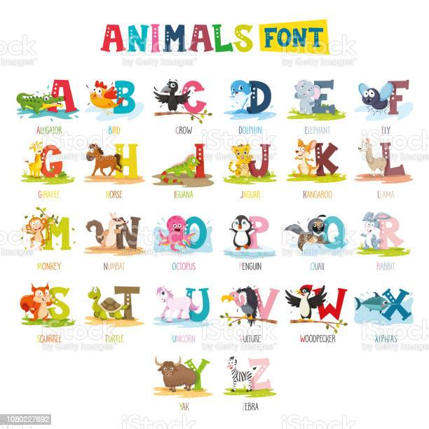 Vector illustration of cartoon animals font vector id1080227692?b=1&k=6&m=1080227692&s=612x612&h=l7e2tzhpy3n47zviihzrsmvwvwxlhhags 9ezpts4ju=