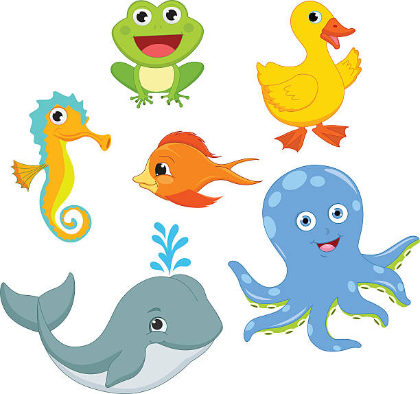 vector illustration of cartoon animals - schwimmpflanzen stock-grafiken, -clipart, -cartoons und -symbole