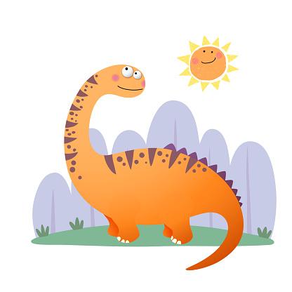 Vector illustration of cartoon Argentinosaurus dinosaur on white background