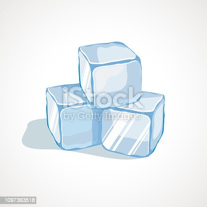 Cartoon blue ice cubes. Vector illustration
