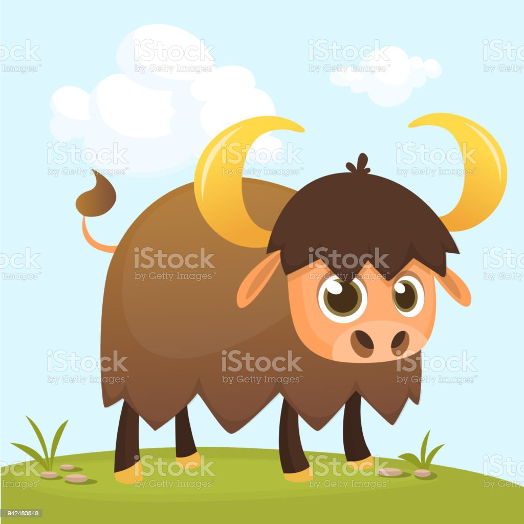 Vector Illustration Of Cartoon Buffalo Or Bison Standing On The