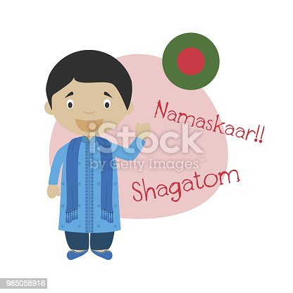 istock Vector illustration of cartoon character saying hello and welcome in Bengali 985058916