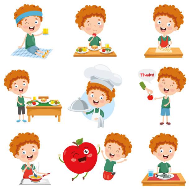 Vector Illustration Of Cartoon Character Vector Illustration Of Cartoon Character hungry child stock illustrations
