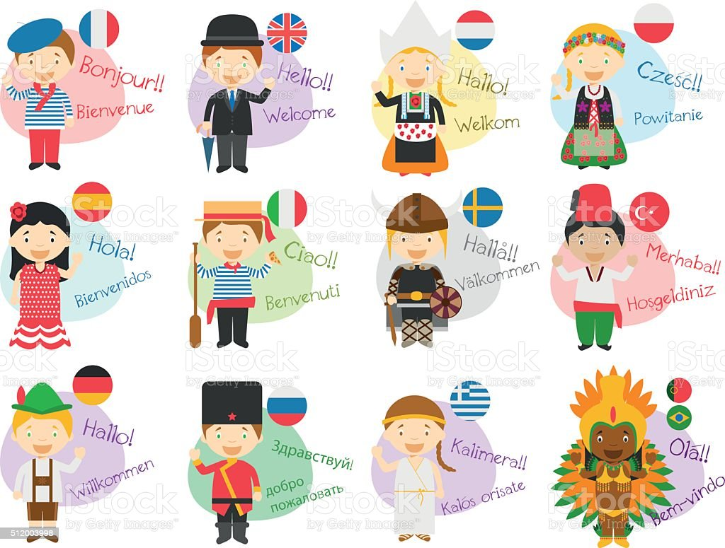 vector illustration of cartoon characters in 12 different