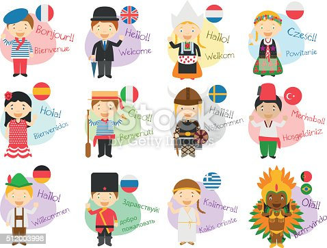 Vector illustration of cartoon characters saying hello and welcome in 12 different languages: english, french, spanish, german, italian, russian, dutch, sweden, greek, polish, turkish and portuguese or brazilian.