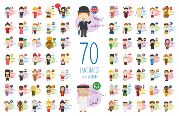illustrazioni stock, clip art, cartoni animati e icone di tendenza di vector illustration of cartoon characters saying hello and welcome in 70 different languages of the world - spagnolo lingua