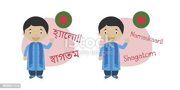 istock Vector illustration of cartoon characters saying hello and welcome in Bengali or Bangla and its transliteration into latin alphabet 998851516