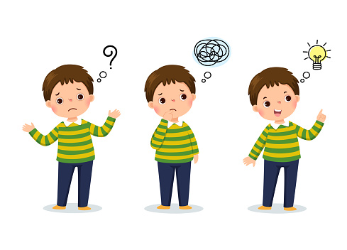 Vector illustration of cartoon child thinking. Thoughtful boy, confused boy, and boy with illustrated bulb above his head