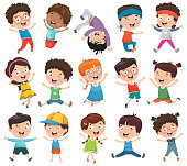 Vector Illustration Of Cartoon Children