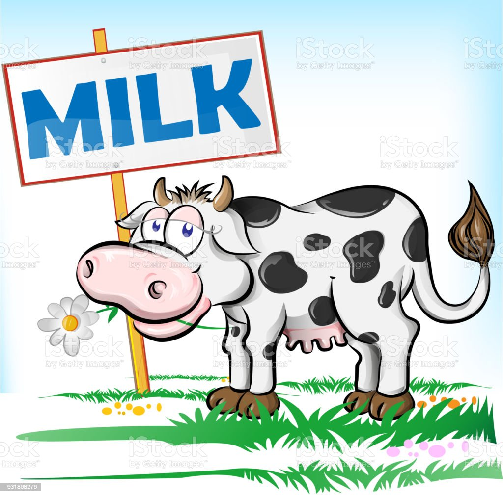Vector illustration of Cartoon Cow vector art illustration