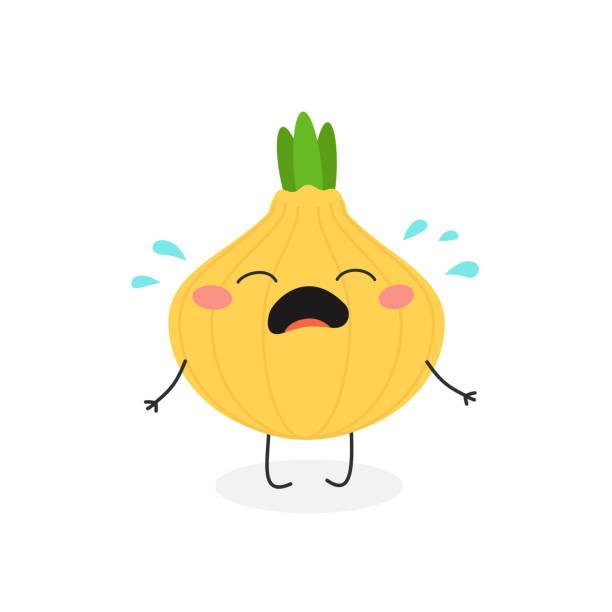 vector illustration of cartoon crying onion - onion stock illustrations