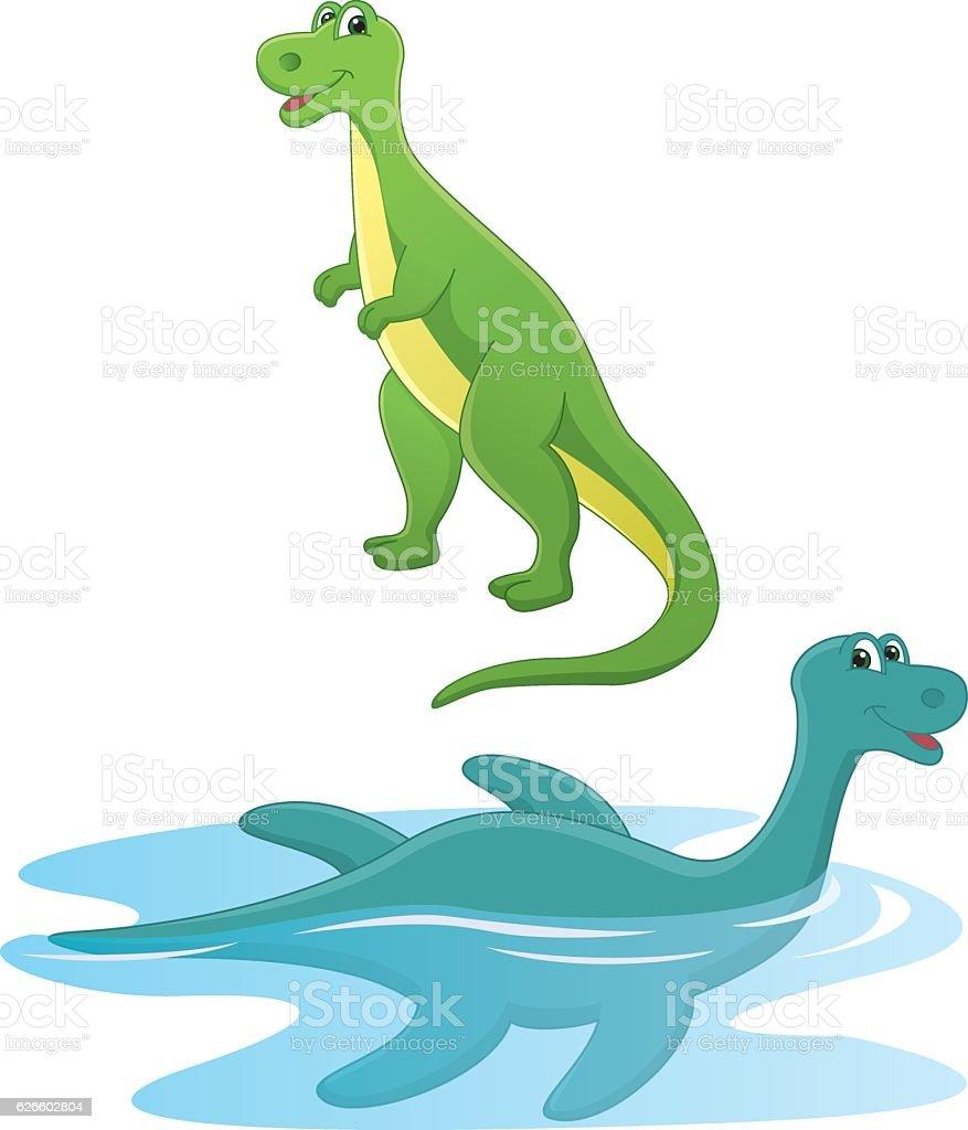 Vector Illustration Of Cartoon Dinosaurs vector art illustration