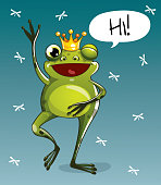 Vector illustration of cartoon frog prince. Hi.