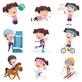 Vector Illustration Of Cartoon Girl Doing Various Activities