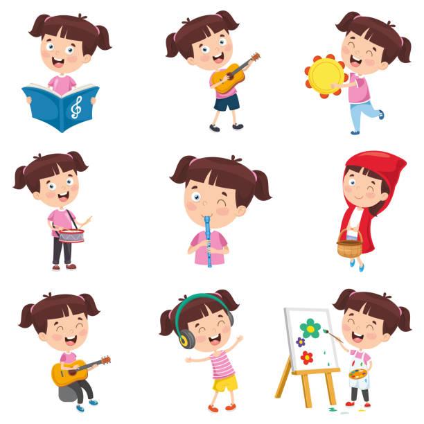 Vector Illustration Of Cartoon Girl faire diverses activités - Illustration vectorielle