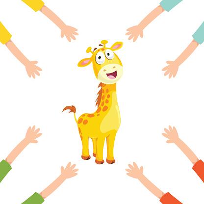 Vector Illustration Of Cartoon Hands With Giraffe