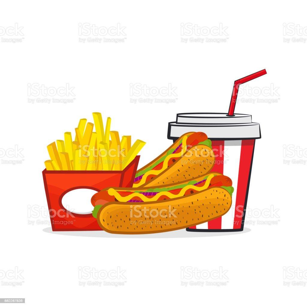 Ilustración De Ilustración Vectorial De Dibujos Animados Hot Dog