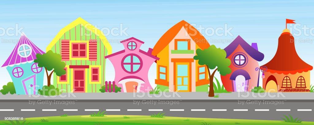 Ilustración De Casas De Ilustración Vectorial De Dibujos Animados En