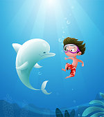 Vector illustration of Cartoon kid with dolphin swimming