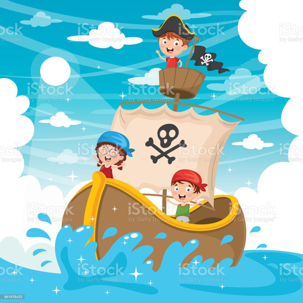 Vector Illustration Of Cartoon Kids Pirate Ship Stock Vector Art ...