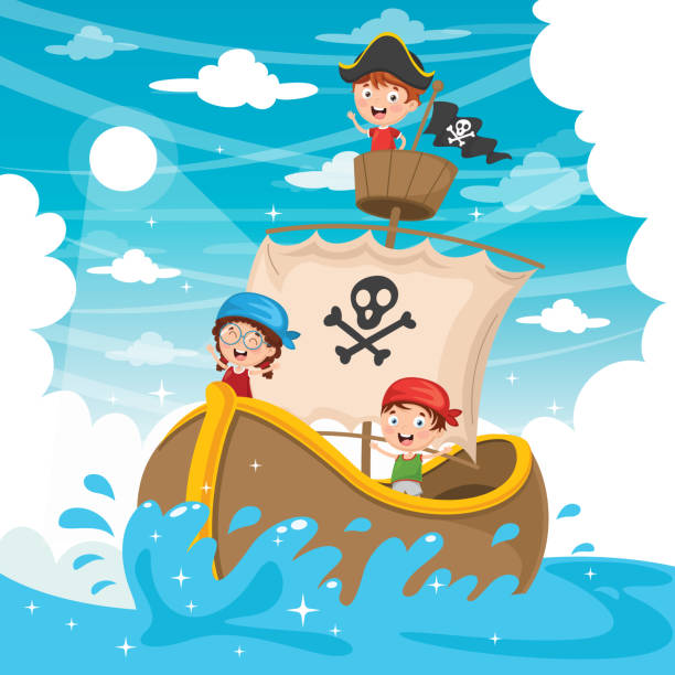 Vector Illustration Of Cartoon Kids Pirate Ship Vector Illustration Of Cartoon Kids Pirate Ship seyahat noktaları illustrationsları stock illustrations