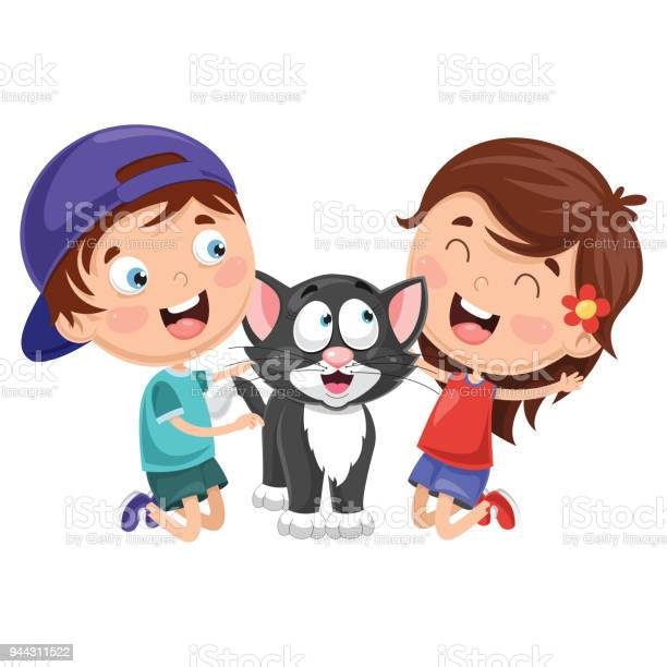 Vector illustration of cartoon kids with cat vector id944311522?b=1&k=6&m=944311522&s=612x612&h=5fb4vwjs 6de7is1vm3m36dqnqyoruq d8ecyn0fa2a=