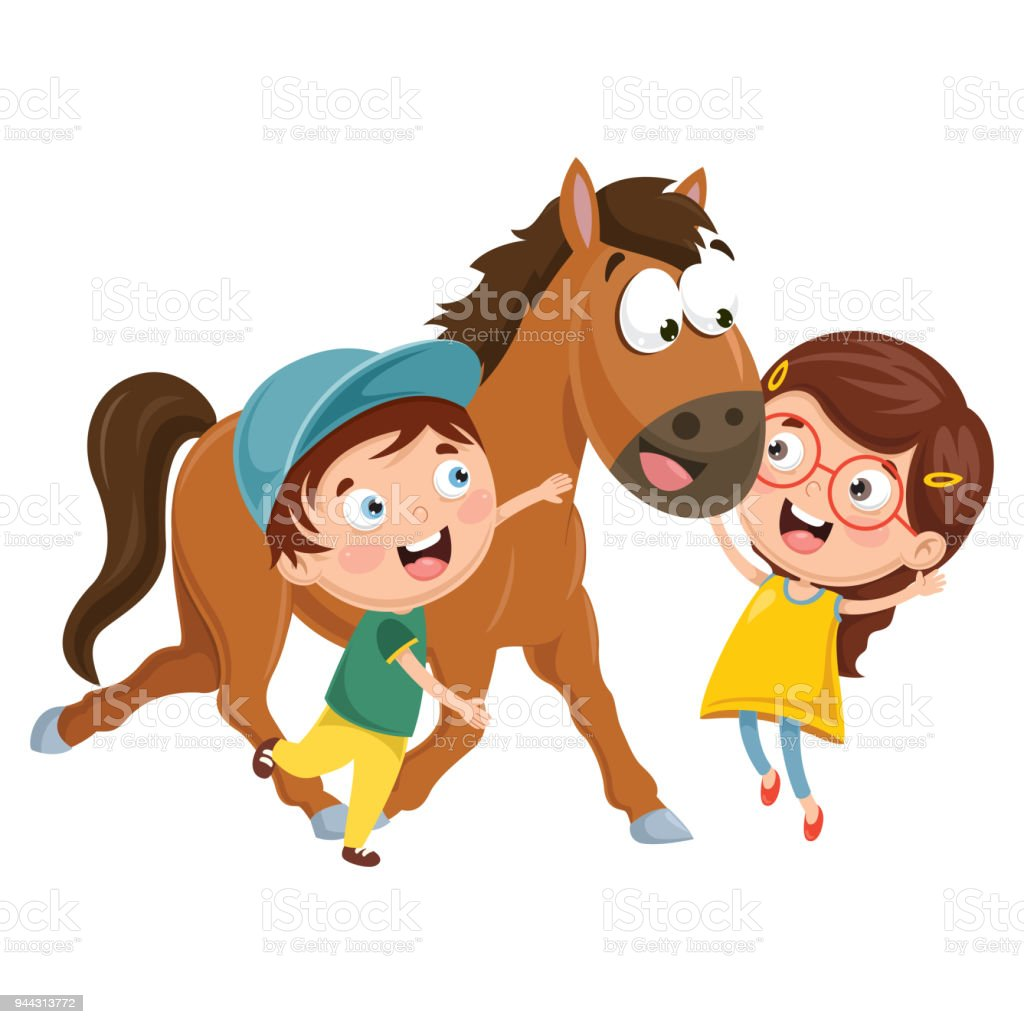 Vector Illustration Of Cartoon Kids With Horse Stock Illustration Download Image Now Istock
