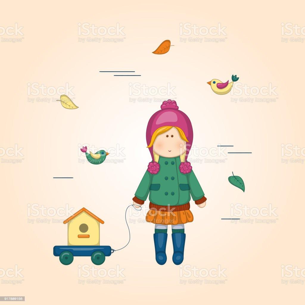Vektorillustration Der Cartoon Kleine Süße Puppe Baby Tshirt Drucken ...