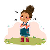 istock Vector illustration of cartoon little sulky girl standing with arms crossed on chest. 1269833437