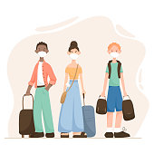 Vector illustration of cartoon modern flat people man and woman travel after opening borders with suitcases and medical masks on their faces.