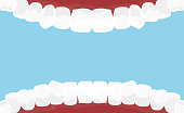 Vector illustration of cartoon mouth inside with white teeth. Dental hygiene background in flat style on blue color background