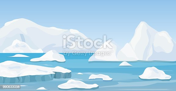 Vector illustration of cartoon nature winter arctic landscape with iceberg, blue pure water and snow hills, mountains