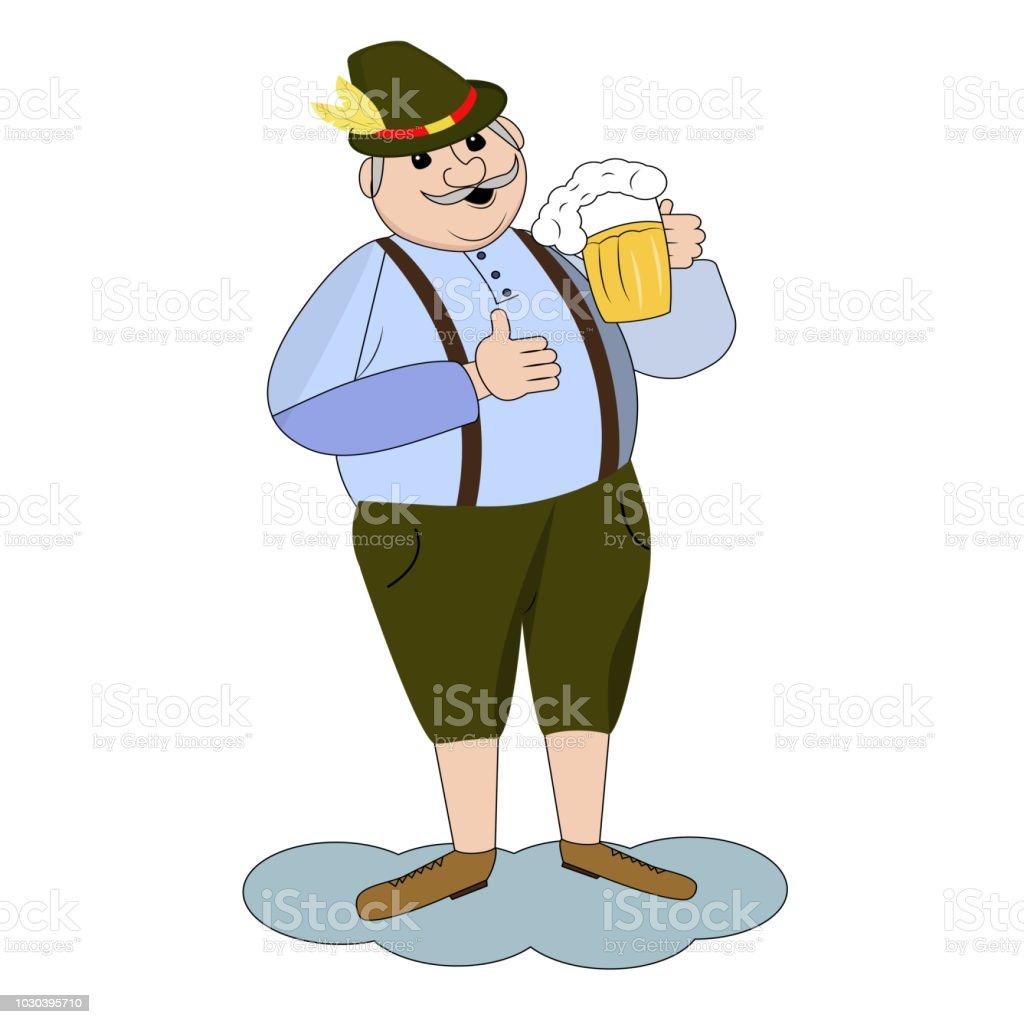 Vector Illustration Of Cartoon Oktoberfest Man With Beer Stock Illustration Download Image Now Istock