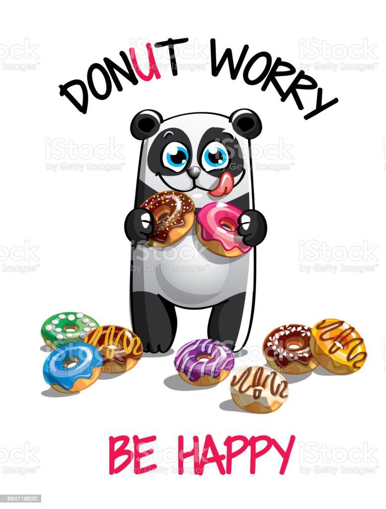 Vector illustration of cartoon panda with donuts. royalty-free vector illustration of cartoon panda with donuts stock vector art & more images of animal