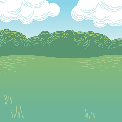 Vector Illustration of Cartoon Park or Woodland