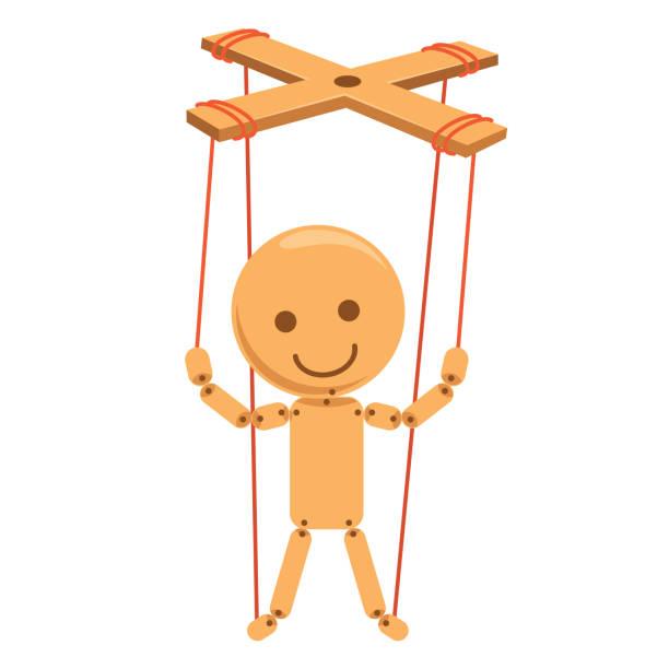 vector illustration of cartoon puppet - marionetka stock illustrations