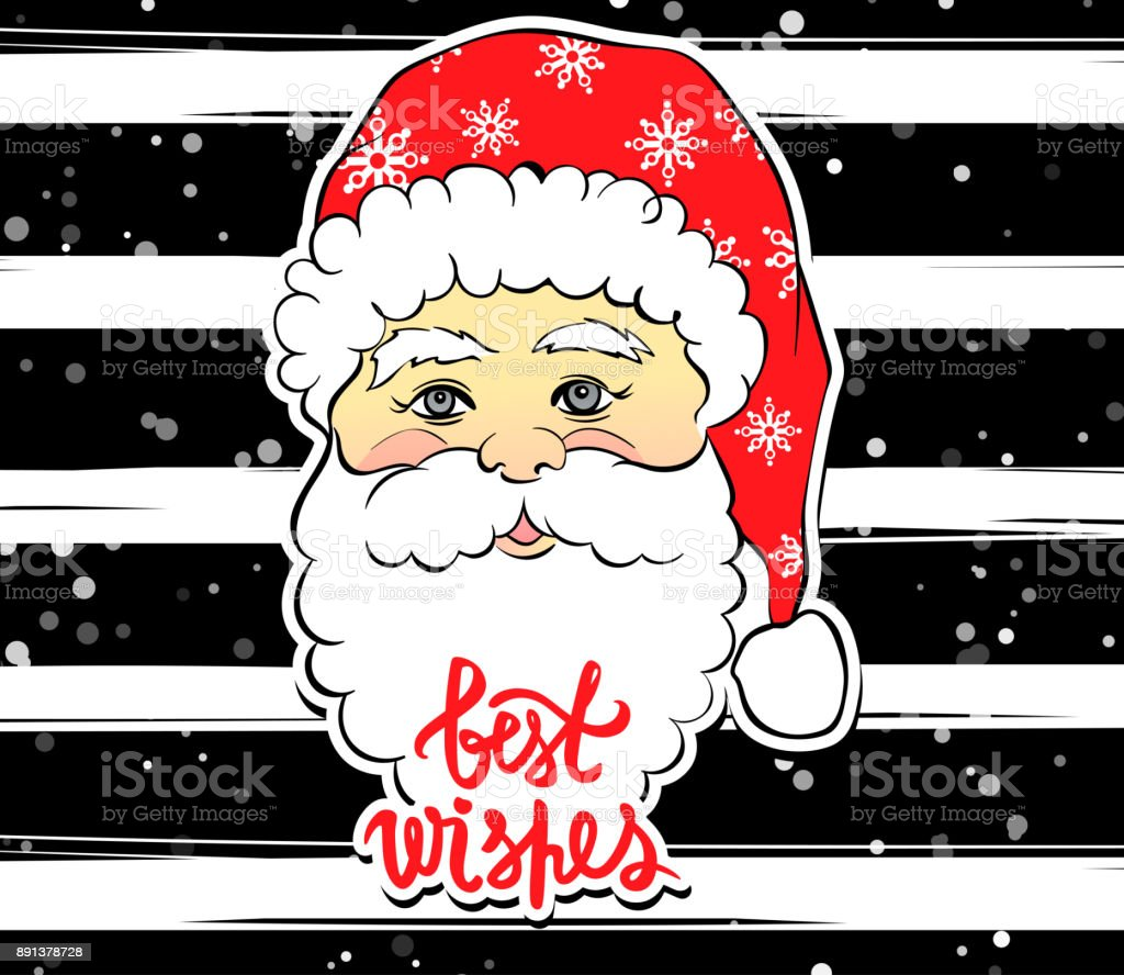 Vector Illustration De Dessin Animé Père Noël Avec Best