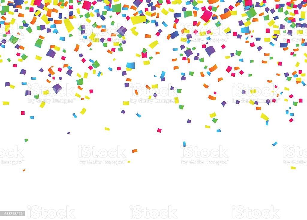 Vector illustration of cartoon seamless border background with carnival confetti vector art illustration