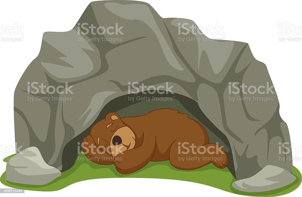 Vector Illustration Of Cartoon Sleeping Bear in Cave vector art illustration