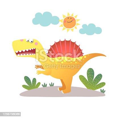 Vector illustration of cartoon Spinosaurus dinosaur on white background.