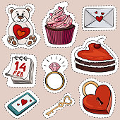 Vector illustration of cartoon stickers for Valentine's day. The illustration shows a bear with a heart, a cake, a love letter, a calendar for February 14, a diamond ring, a heart-shaped cake.