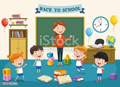 istock Vector Illustration Of Cartoon Students 1072752250