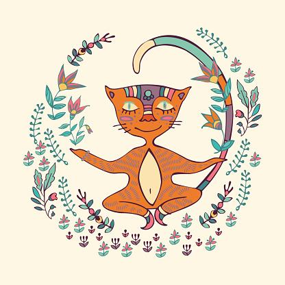 Vector illustration of cat doing yoga exercises