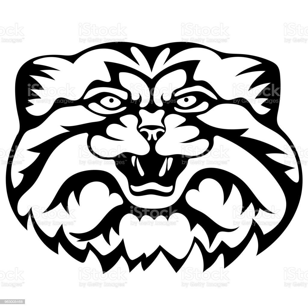 猫マヌルネコ頭のベクター イラストですタトゥー スタイル アイコンの