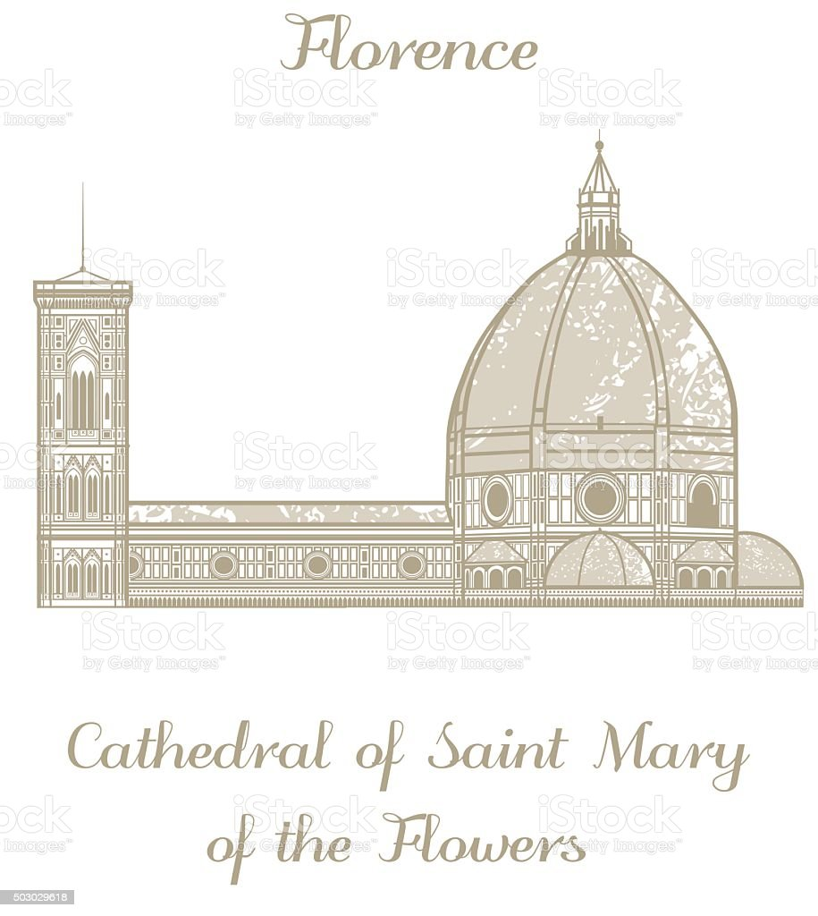 vector illustration of Cathedral of Saint Mary of the Flowers vector art illustration