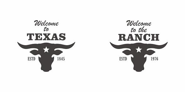 Vector illustration of cattle breeding. Texas Ranch logo, emblem.