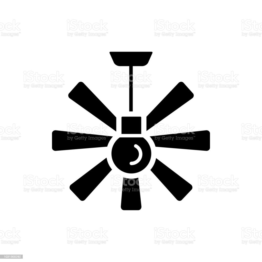 Vector Illustration Of Ceiling Fan Flat Icon Of Modern Light Fixture