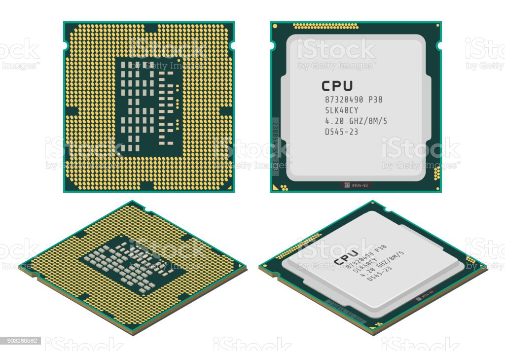 Vector illustration of central processing unit or CPU in flat and isometric styles royalty-free vector illustration of central processing unit or cpu in flat and isometric styles stock illustration - download image now