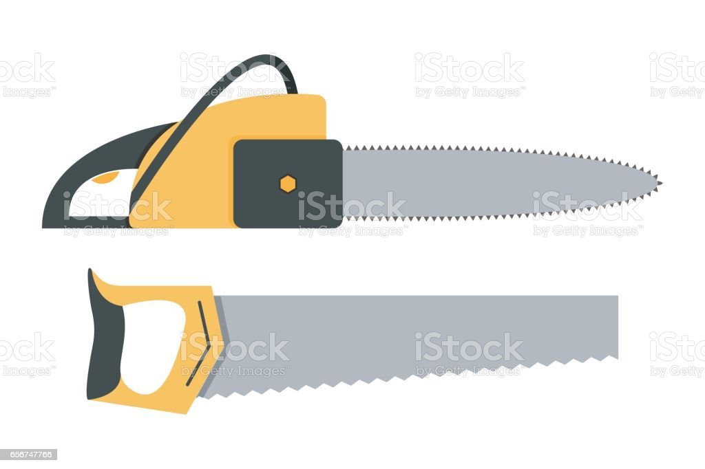 Vector illustration of chainsaw and handsaw icons vector art illustration