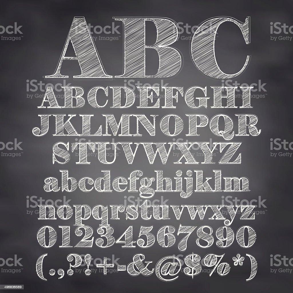 Vector illustration of chalk sketched characters on a blackboard background vector art illustration